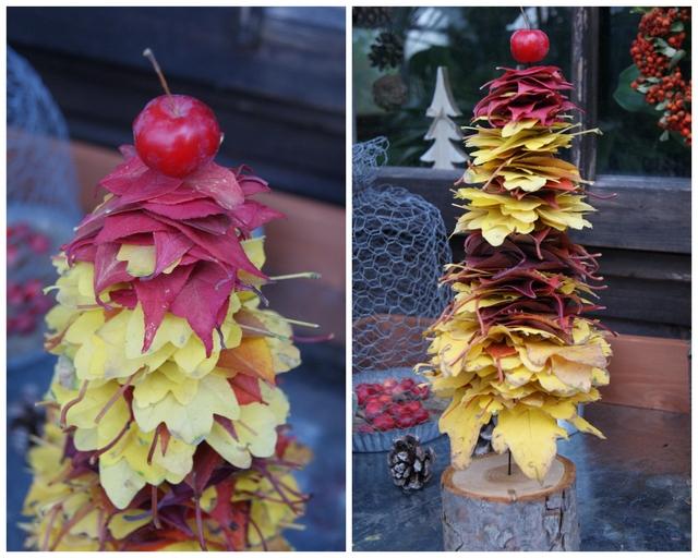 DIY Bäumchen aus Herbstlaub - als Abschluss dient ein Zierapfel