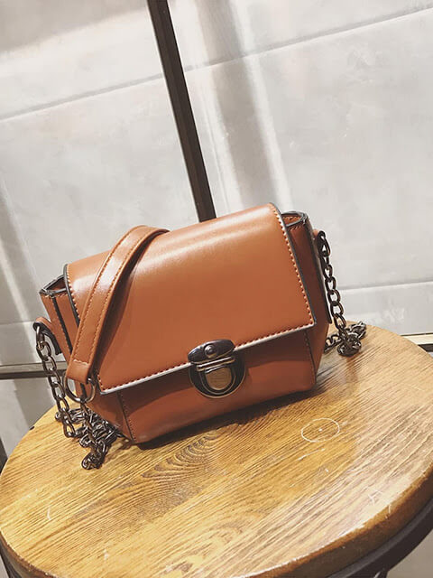 Faux Leather Push Lock Flap Bag