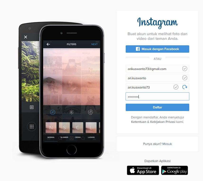 Daftar akun instagram sudah bisa lewat PC komputer lho
