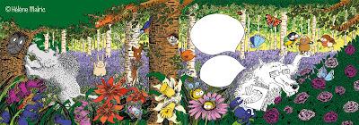 forêt, couleur, fleurs, texture, détails, loup, joli bois
