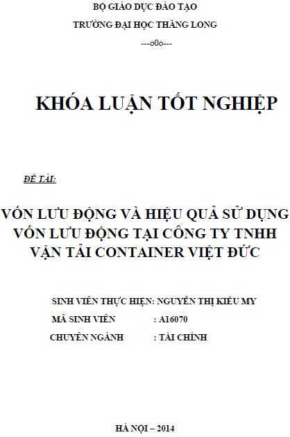 Vốn lưu động và hiệu quả sử dụng vốn lưu động tại công ty TNHH vận tải container Việt Đức