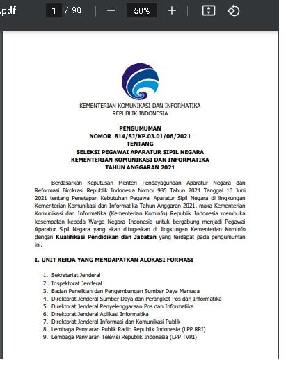 Penerimaan CPNS Kementerian Komunikasi dan Informatika (Kementerian Kominfo) Republik Indonesia