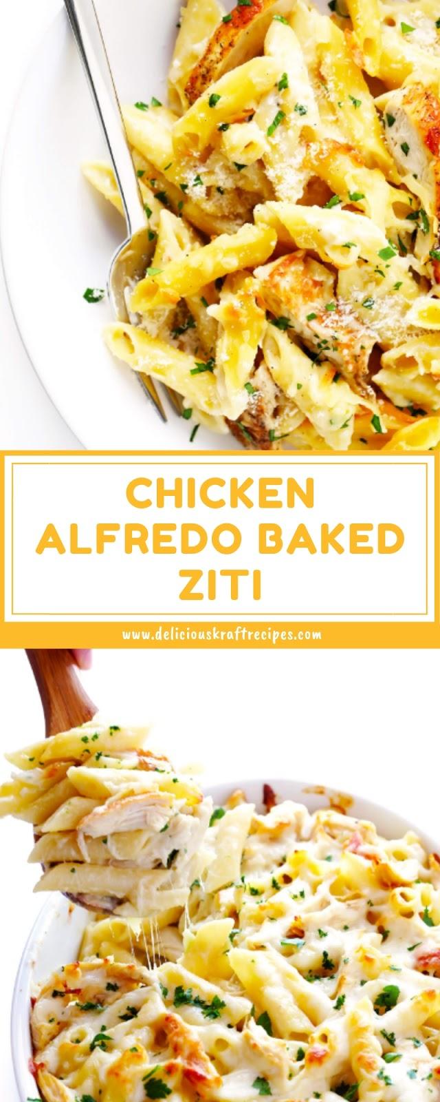 CHICKEN ALFREDO BAKED ZITI