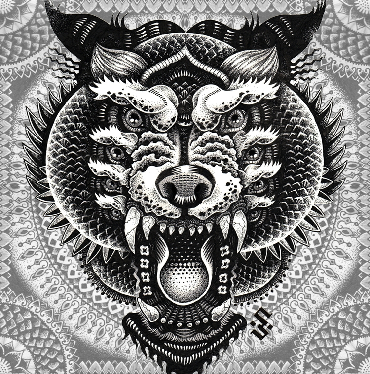 07-Mythical-Creature-Tony-Graystone-Neon-Mystic-Black-and-White-Drawings-www-designstack-co