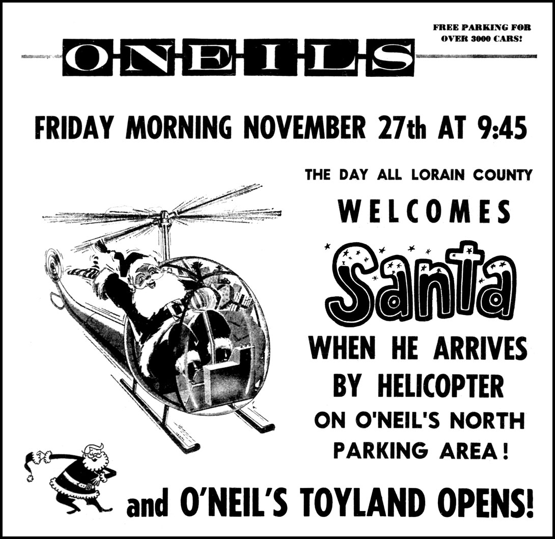 Brady S Lorain County Nostalgia Santa Arrives At O Neil S