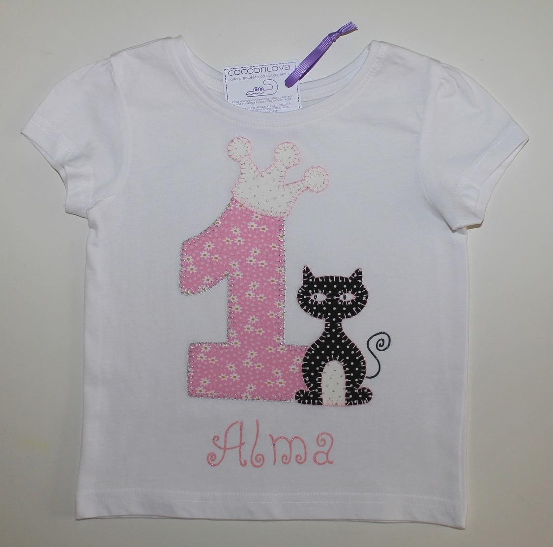Cocodrilova Camiseta Cumpleanos 1 Ano Gato Negro