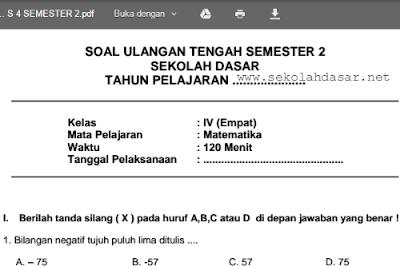 Soal UAS Matematika Kelas 4 SD/MI Semester 2