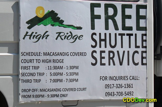 high ridge cagayan de oro shuttle schedule