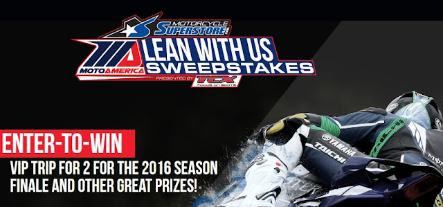 MotoAmerica and TCX Boots want you to enter once for a chance to win a VIP Trip for two to attend the 2016 Road Racing Championship Season Finale race or other great prizes!