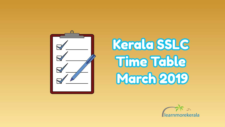 Kerala SSLC Timetable 2019