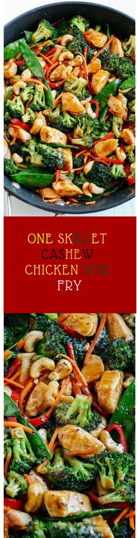 ONE SKILLET CASHEW CHICKEN STIR FRY #food