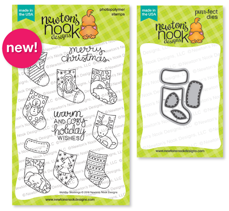 Holiday Stockings Stamp Set and Stylish Stockings Die Set by Newton's Nook Designs #newtonsnook