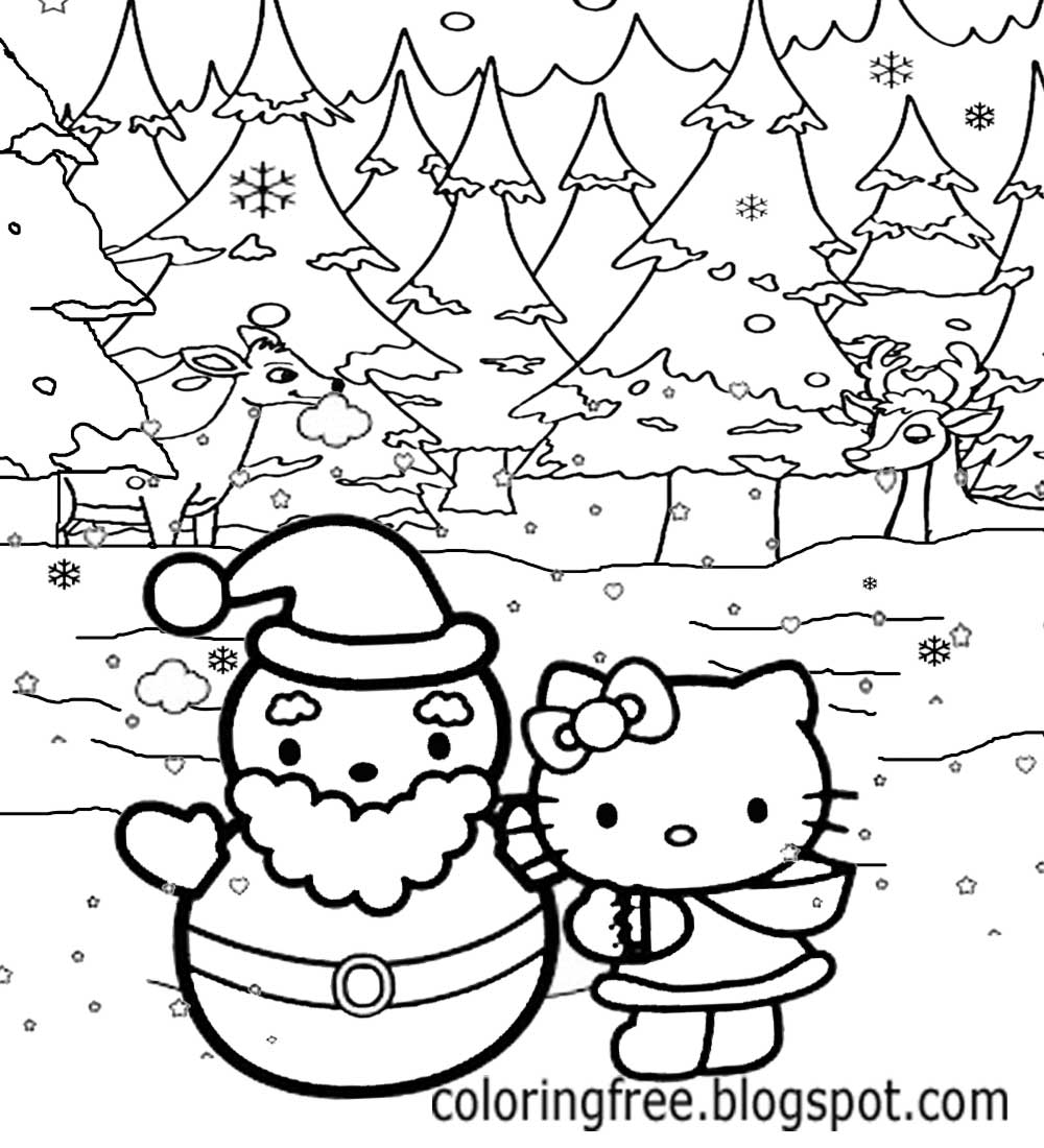 Happy Merriment Fun Lovely Winter Snow Fall Landscape Christmas Holidays Hello Kitty Coloring Sheets