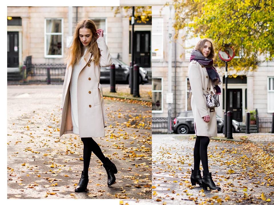 Fashion blogger autumn outfit with jumper dress and trench coat - Muotibloggaajan syysasu: valkoinen neulemekko ja trenssitakki