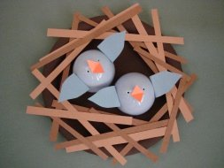 Blue Baby Birds in Nest Paper Craft.