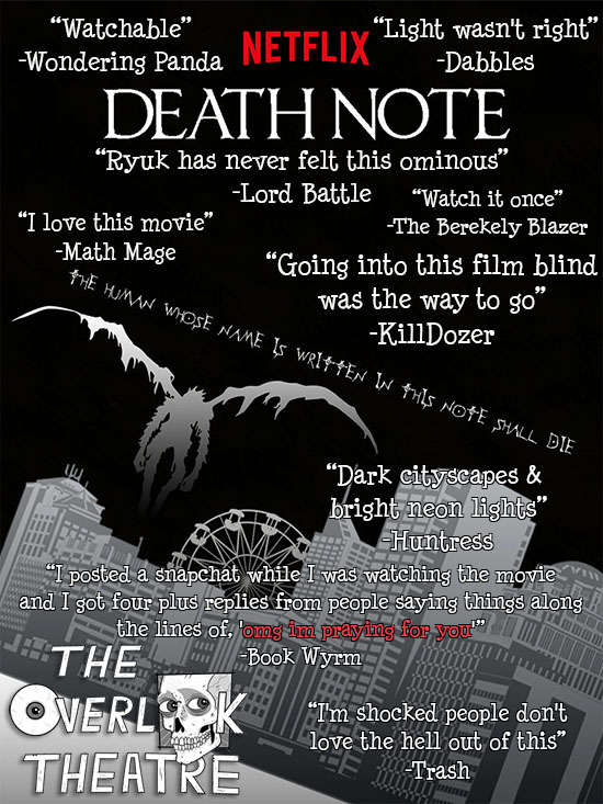 The Overlook Theatre: The Overlook Theatre Reviews: Death Note