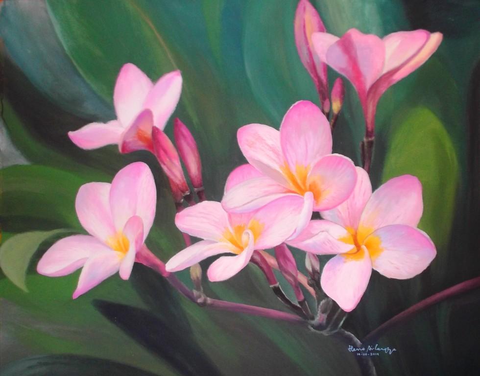 Dunia Lukisan Javadesindo Art Gallery Lukisan Bunga Kamboja Aura Keindahan Alam