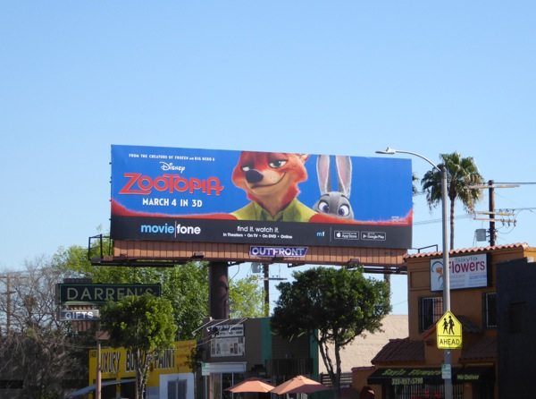 Zootopia moviefone billboard