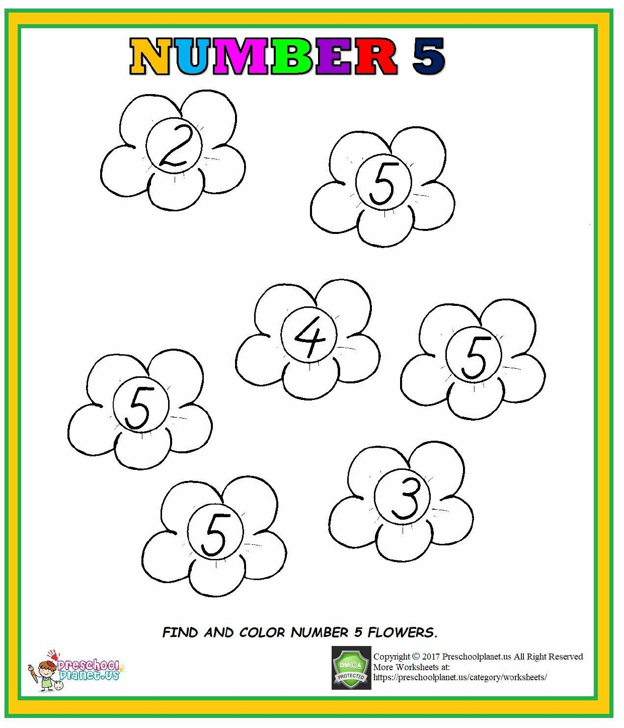 Number 5 Worksheet For Preschool Kindergarten