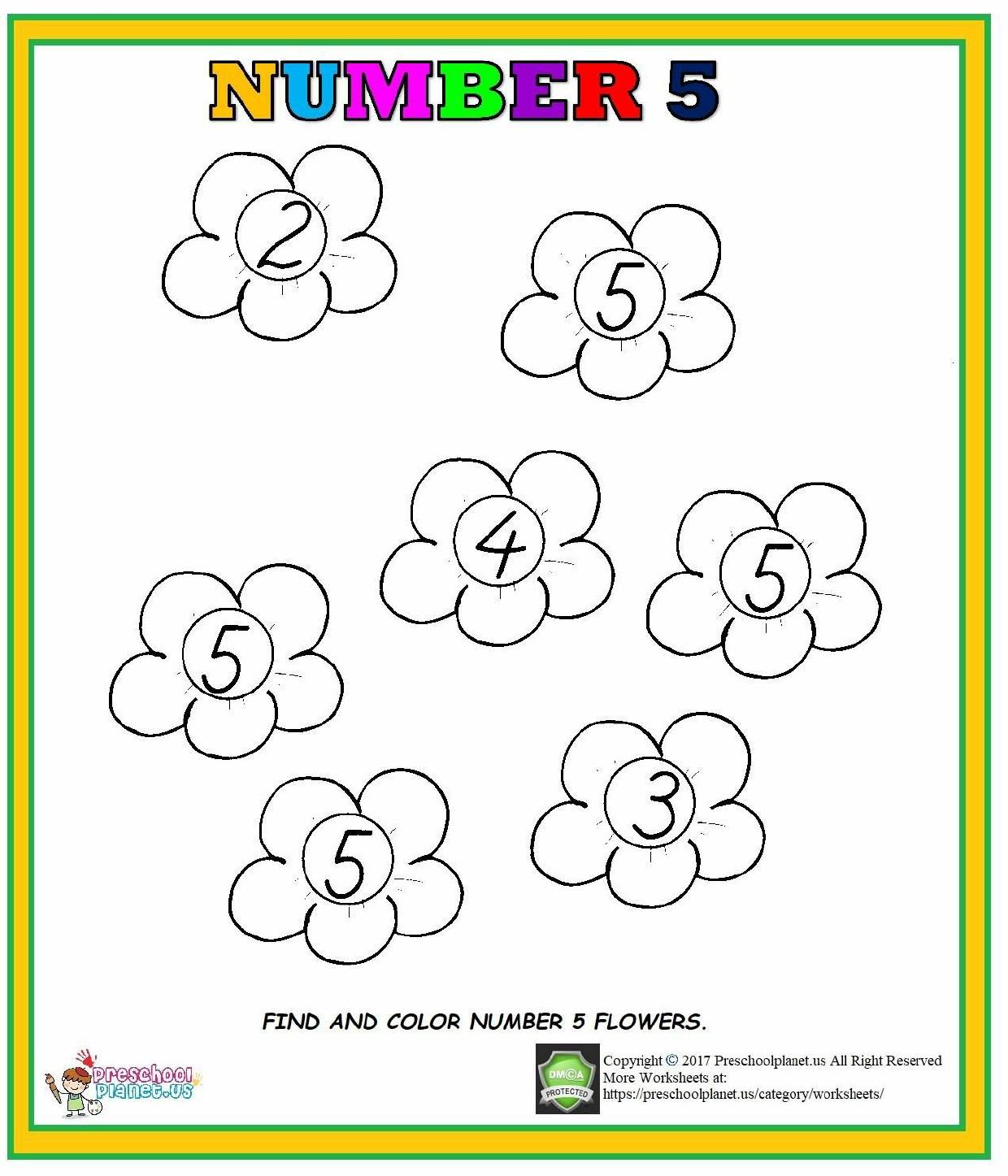 Number 5 Worksheet For Preschool Kindergarten