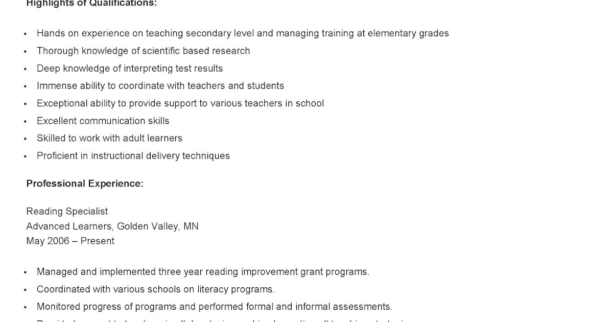 Reading Specialist Resume - nmdnconference - Example Resume And