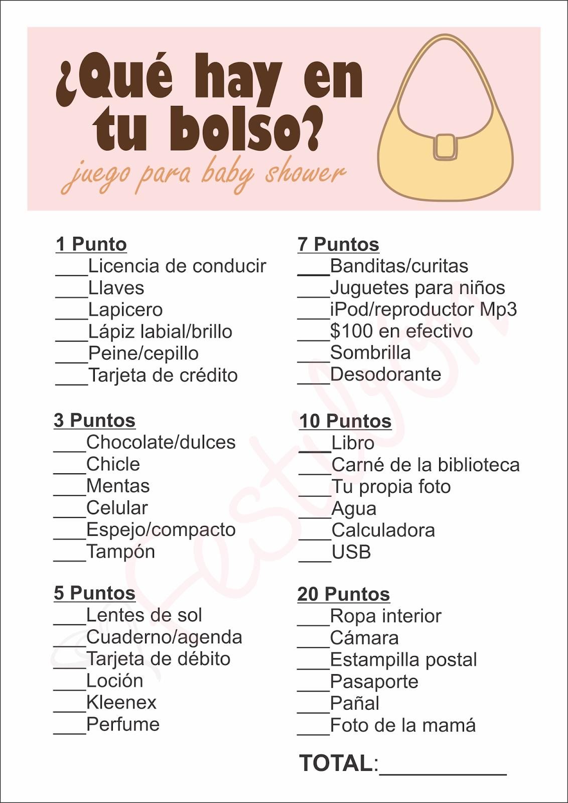 Que Hay En Tu Bolso Juegos De Baby Shower