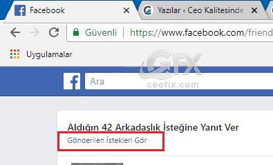 facebook Gönderilen istekleri gör -