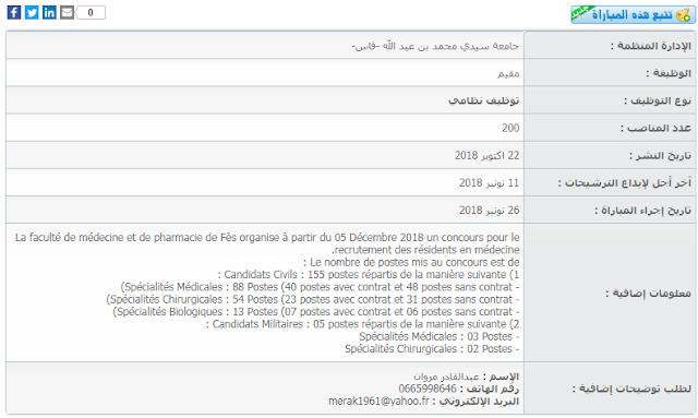 مباراة لتوظيف مقيم (200 منصب) بجامعة سيدي محمد بن عبد الله -فاس
