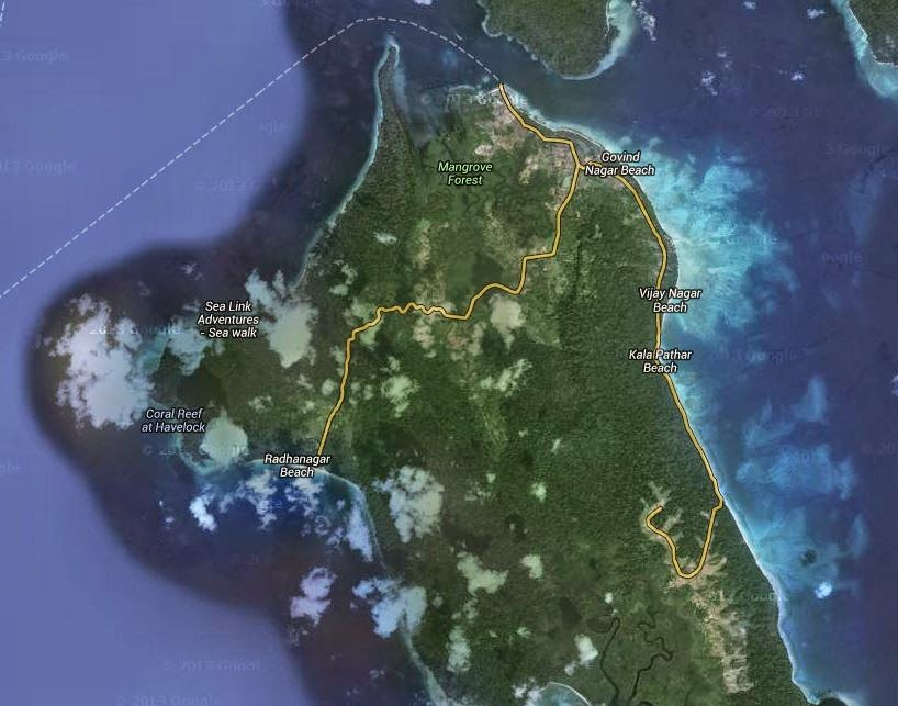 Satellite view of the Northern part of Havelock Island
