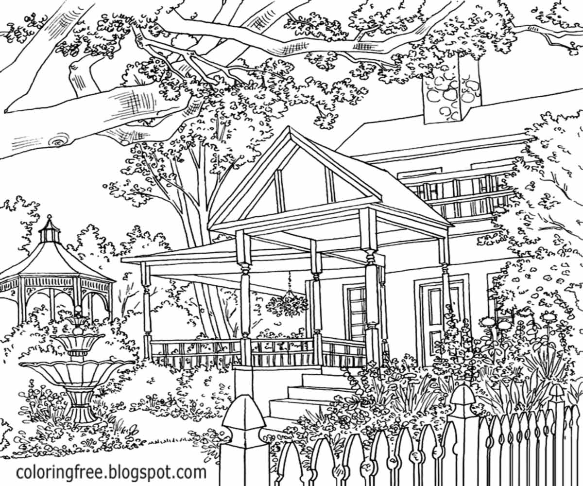 Striking Home Enhanced Landscape Garden Coloring Pictures For Adults Detailed Gardening Layout Ideas