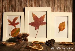 Quadretti con foglie secche d'autunno - fronte - My Little Inspirations