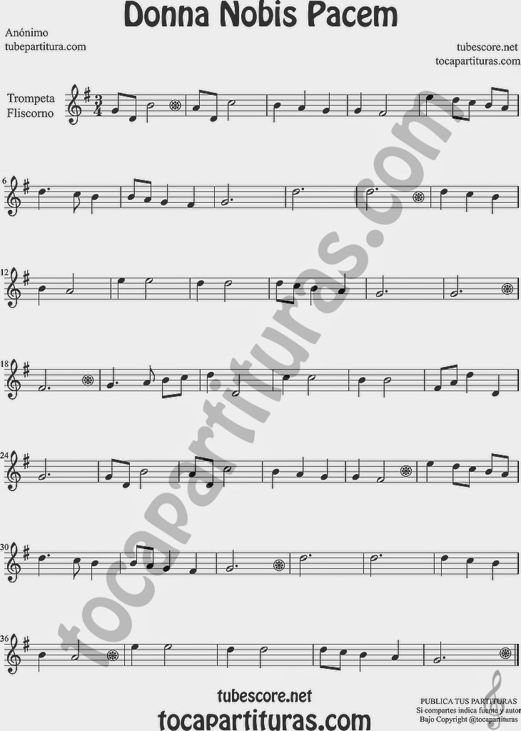 Donna Nobis Pacem  Partitura de Trompeta y Fliscorno Sheet Music for Trumpet and Flugelhorn Music Scores