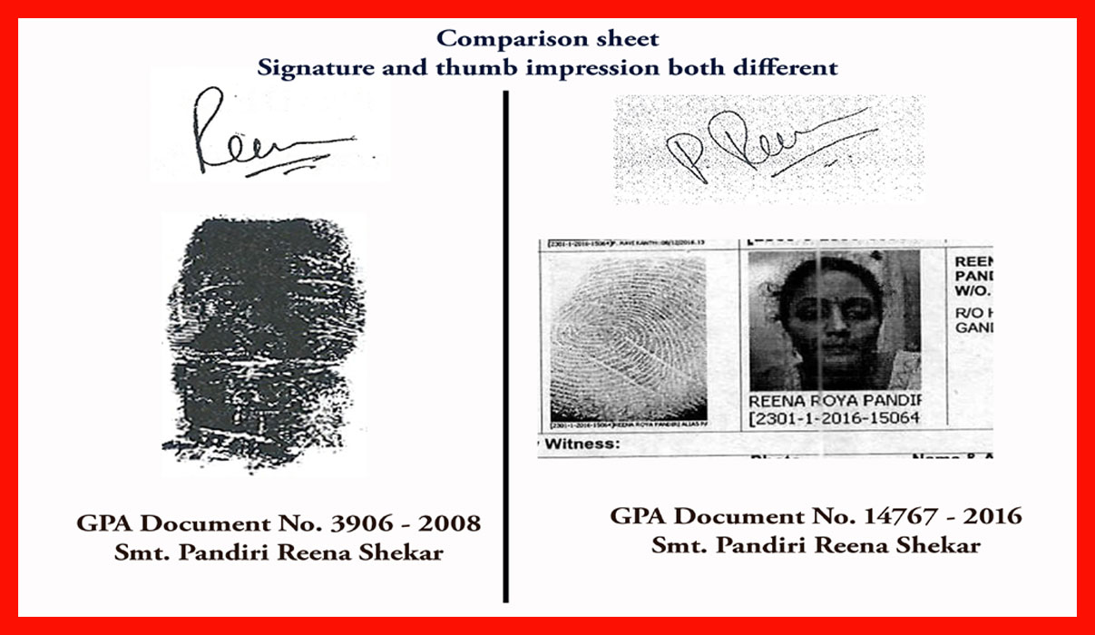 Comparison sheet Signature and Thumb impression both different
