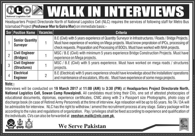 National Logistics Cell Rawalpindi NLC Jobs
