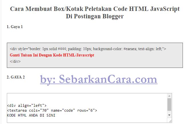 Cara Membuat Kotak HTML JavaScript Di Postingan Blogger ...