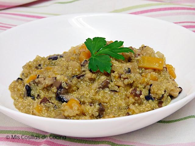 Risotto de quinoa, calabaza y setas