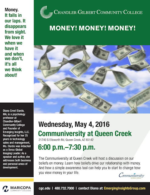 event flier.  text in blog.  Images of money falling from the sky.