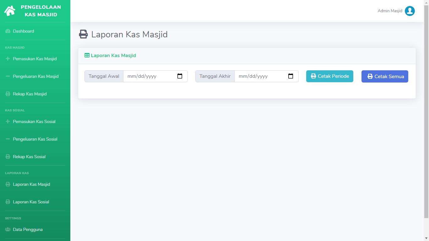 Aplikasi Manajemen Pengelolaan Dana Keuangan Kas Masjid - SourceCodeKu.com