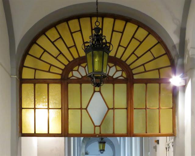 A hallway inside the administrative building of the hospital, Viale Alfieri, Livorno