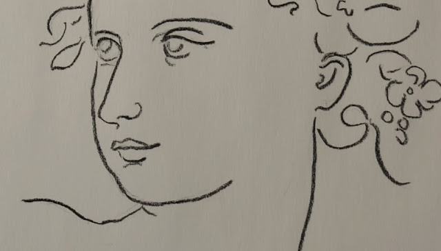 spring, lady, woman, line, drawing, sketch, sarah myers, art, artist, flowers, face, head, minimal, leaves, line-drawing, study, arte, dibujo, eyes, charcoal, pencil, minimalist, simple, classical, detail, mouth, close-up