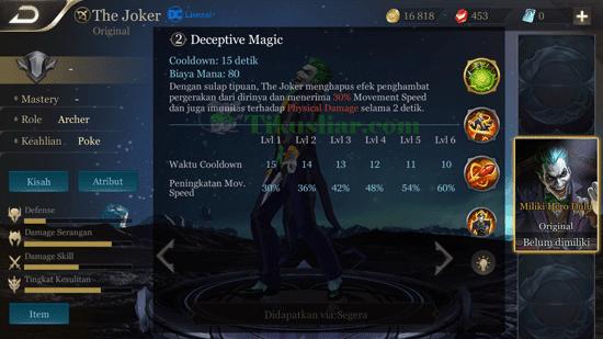 Skil Hero Baru The Joker - AOV dan Cara Menggunakanya