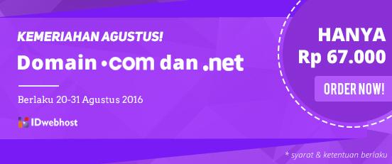 Promo Akhir Agustus, Domain .COM dan .NET Hanya Rp 67.000