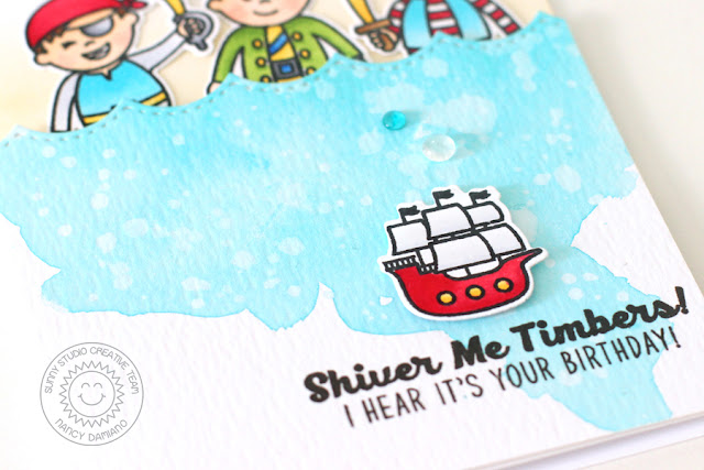 Sunny Studio Stamps: Pirate Pals Boy Themed Pirate Birthday Card by Nancy Damiano