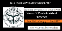 Basic Education Parishad Recruitment 2017 – 10000 Assistant Teacher Post