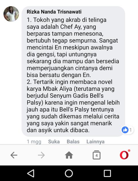 Testimoni Rizka Nanda Trisnawati (Malang) Tentang Tokoh Novel dan Sosok Novelis Aliya Nurlela