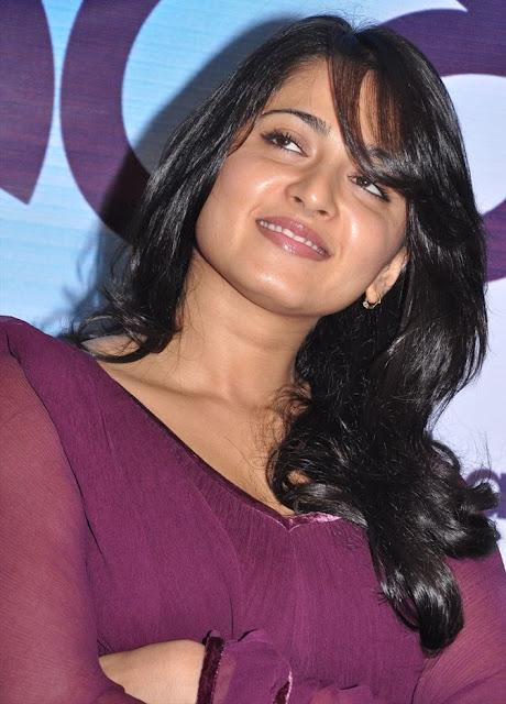 Actress Anushka Shetty Cool Photos In Violet Dress