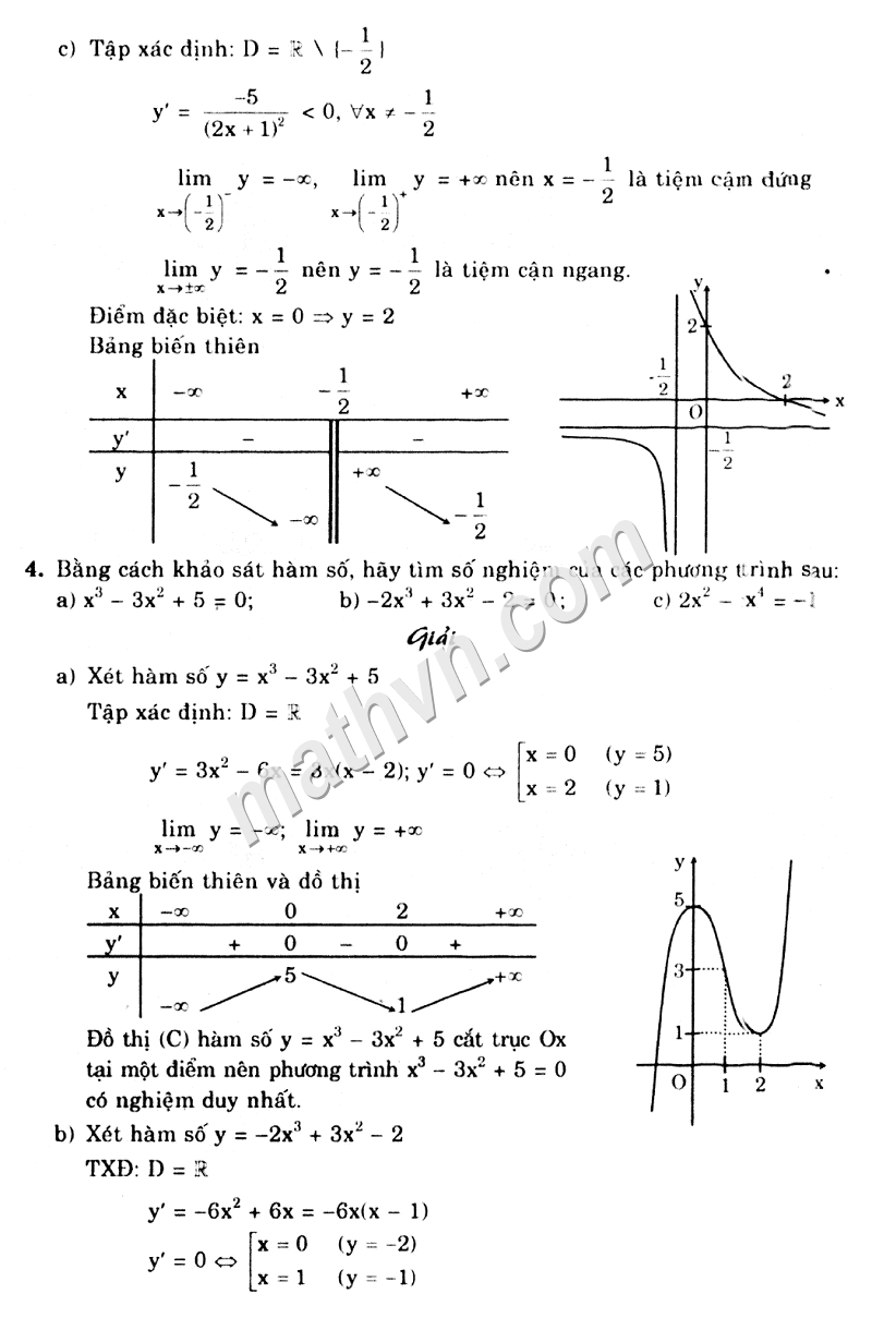 giải bài tập sgk chương 1 giải tích 12 cơ bản