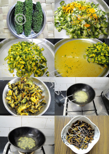 How to make bittergourd thokku, How to make pavakkai thokku
