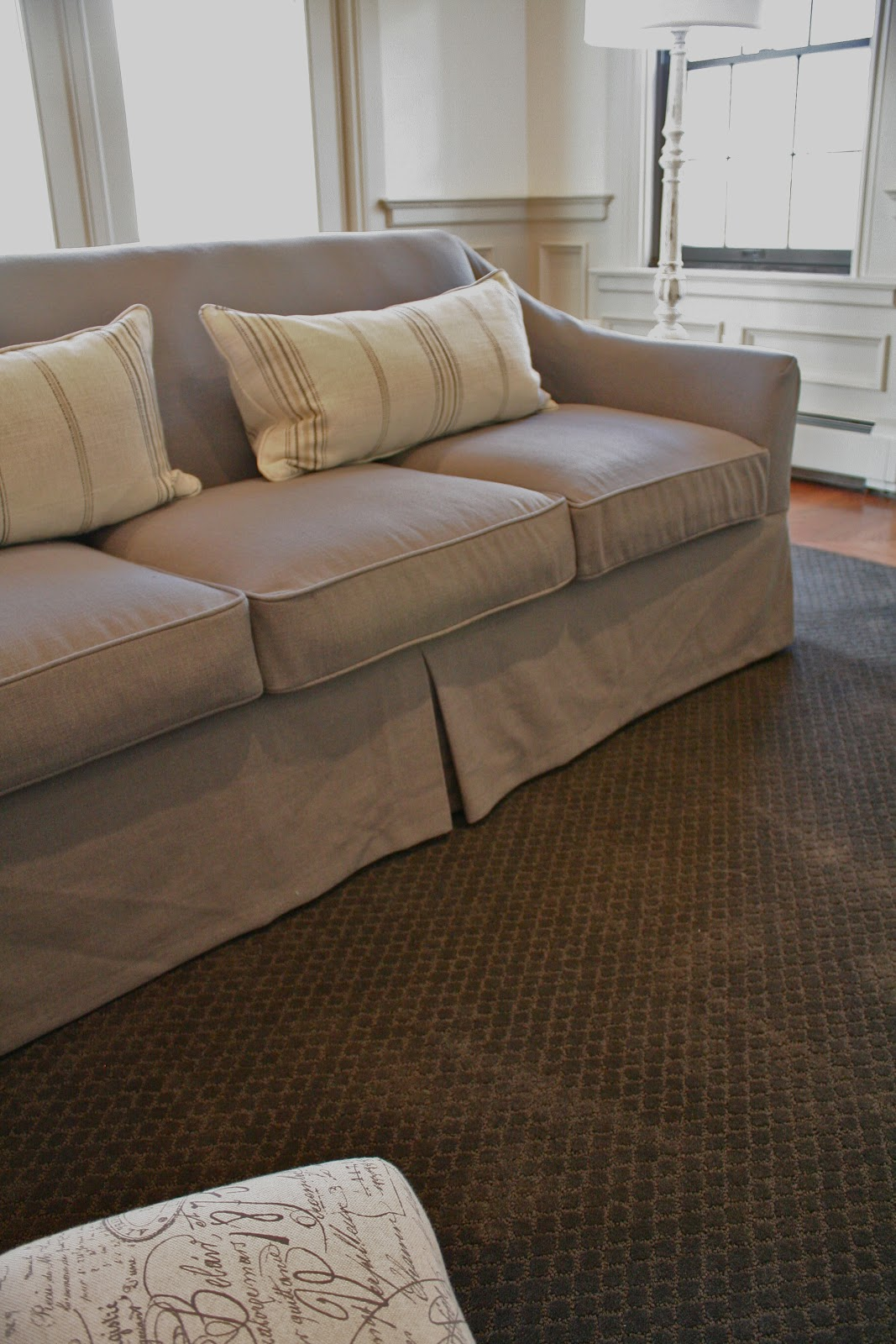 Gray Linen Sofa Slipcover Brown Suede Bed Custom Slipcovers By Shelley Waterfall Skirt Couch