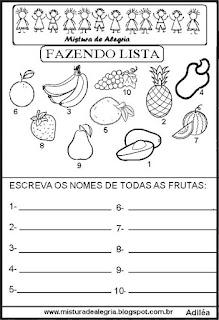 Lista de frutas grupo semântico alfabetização